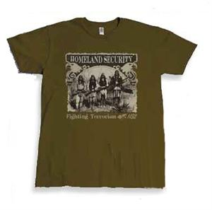 "Homeland Security Eagles T-shirt from Tombstone, AZ features four Native American Indians ""Fighting Terrorism""."