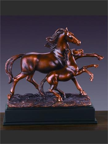 High stepping mare and foal figurine
