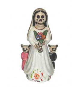 D.O.D. Peruvian Folk art ceramic figurine with bride and two cats.