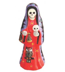 Santa Muerta folk art figurine in red dress, holding scales, skulls and wise owl.