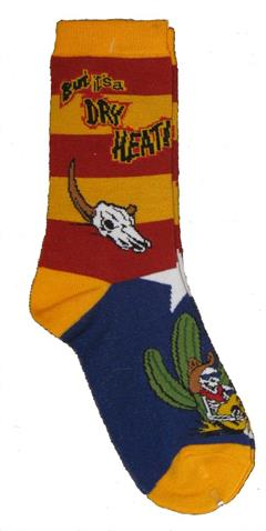But it's a Dry Heat sock with cow skulls, cactus and skeleton on background colors of Arizona flag.