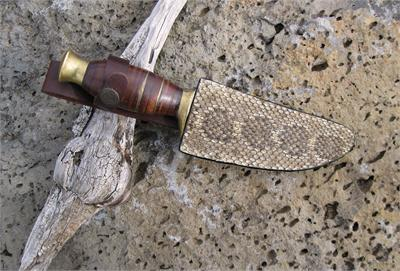 Rattlesnake skin knife sheath with Bowie knife from Silver Hills Trading, Tombstone, Arizona