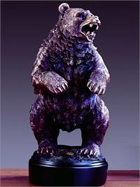 Bear figurine is standing upright with mouth wide open