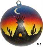Ceramic ball ornament features a desert sunset with moon in the overhead sky and teepee silhouete. Excellent for housewarmings, weddings, gift exchanges. Use year round.