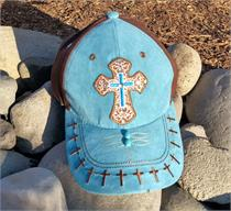 Turquoise suede, brown fabric cap with ebroidered crosses from Tombstone, AZ