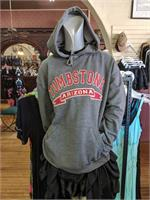 Tombstone AZ charcoal pullover sweat jacket with hoodie and hand warmers.