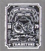 Small logo on front of Doc Holidays magic elixir t-shirt from Tombstone, Arizona
