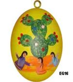 Brightly colored ceramic egg features a prickly pear cactus with three girls dancing in the foreground.