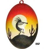 Kokopelli dances into the desert sunset on this ceramic egg. Use year round to decorate, makes great all occasion, housewarming or wedding gift.