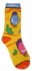 Southwestern Wild Javelina socks feture brightly colored javelina and prickly pear cactus.