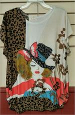 Lady with butterfly hat plus size top has leapord print, flowers and rhinestones.