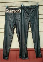 Black Leopard and Tiger print stretch pants with leaopard print in two sizes.
