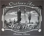 Tshirt with Outlaws are well hung printed on it. Front and back design.