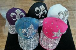 Rhinestone studded ladies baseball caps available in five colors and different designs.