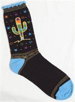 Black socks with colorful cactus, stars and swirls on black background. Toe, heel and top are blue, sock has gold accent thread design.