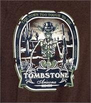T-shirt from Tombstone, AZ with grinning skeleton on cotton blend t-shirt.