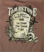 Tombstone Arizona t-shirt features skull, tombstone, guns and more from Silver Hills Trading in Tombstone, AZ