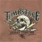Skull, gun and tombstone with Arizona Territory on t-shirt from Silver Hills Trading Company in Tombstone, AZ
